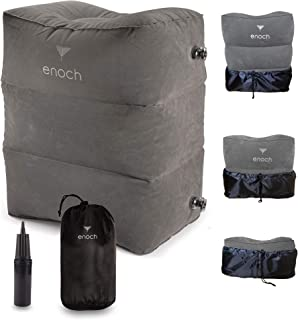 Enoch Inflatable Travel Footrest Pillow, Leg Rest Support on Airplanes, Cars, Trains, Office, Travel Bed for Kid | Adjustable Height for All Around Comfort, Travel Gadgets and Accessories.