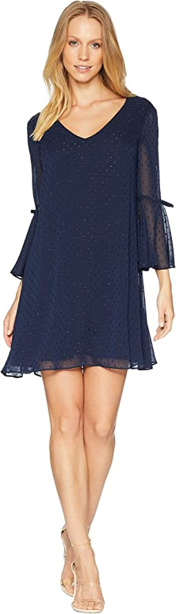 Trapeze Dress With Double Bell Sleeve
