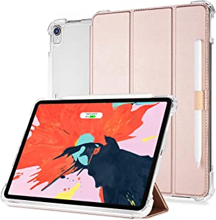 Valkit for iPad Pro 11 Case 2018,iPad Pro 11 inch Cover,Support Apple Pencil Charging,Protective Smart Folio Stand Cases with Auto Sleep/Wake+Apple Pencil Holder+Removable Front Cover, Rose Gold