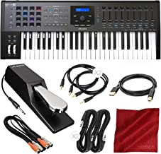 Arturia KeyLab MKII 49 Professional MIDI Keyboard Controller and Software (Black) with Sustain Pedal & Assorted Cables Deluxe Bundle