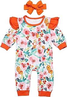 Newborn Baby Girls Clothes Romper Jumpsuit Flower Long Sleeves Bodysuit + Headband 2Pcs Outfit Set