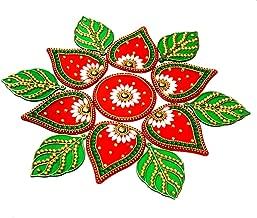 KRIWIN® 10 to 11 inches Dia -Floor/Wall/Table Rangoli Decorative Showpiece (Acrylic) (Leaf)