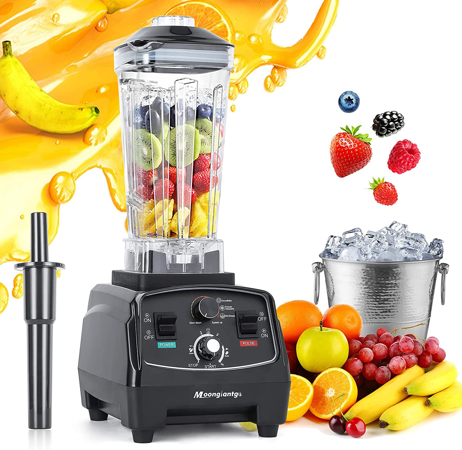 Moongiantgo Professional Blender 2200W Countertop Blender for Shakes and Smoothies 48000RPM High Speed Blender with Timer for Kitchen Ice Frozen Fruit Nut Butter Home Commercial Use (Black, 110V)