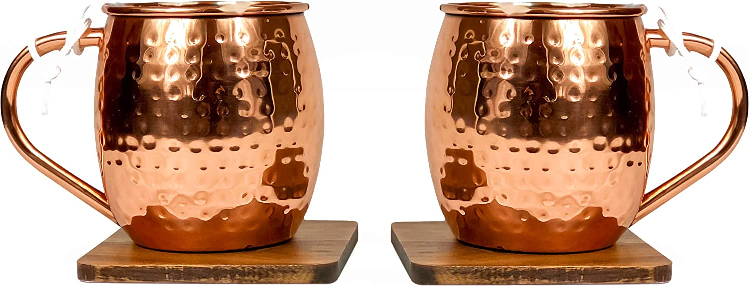Manufacturer regenerated product Sally Pacific Copper Moscow Mule Mug with Popular brand in the world Walnut Coaster Set Box