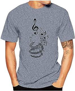 Xmiral Män T-shirt sommar kortärmad rund hals toppar karikatyr tryckta enkla toppar