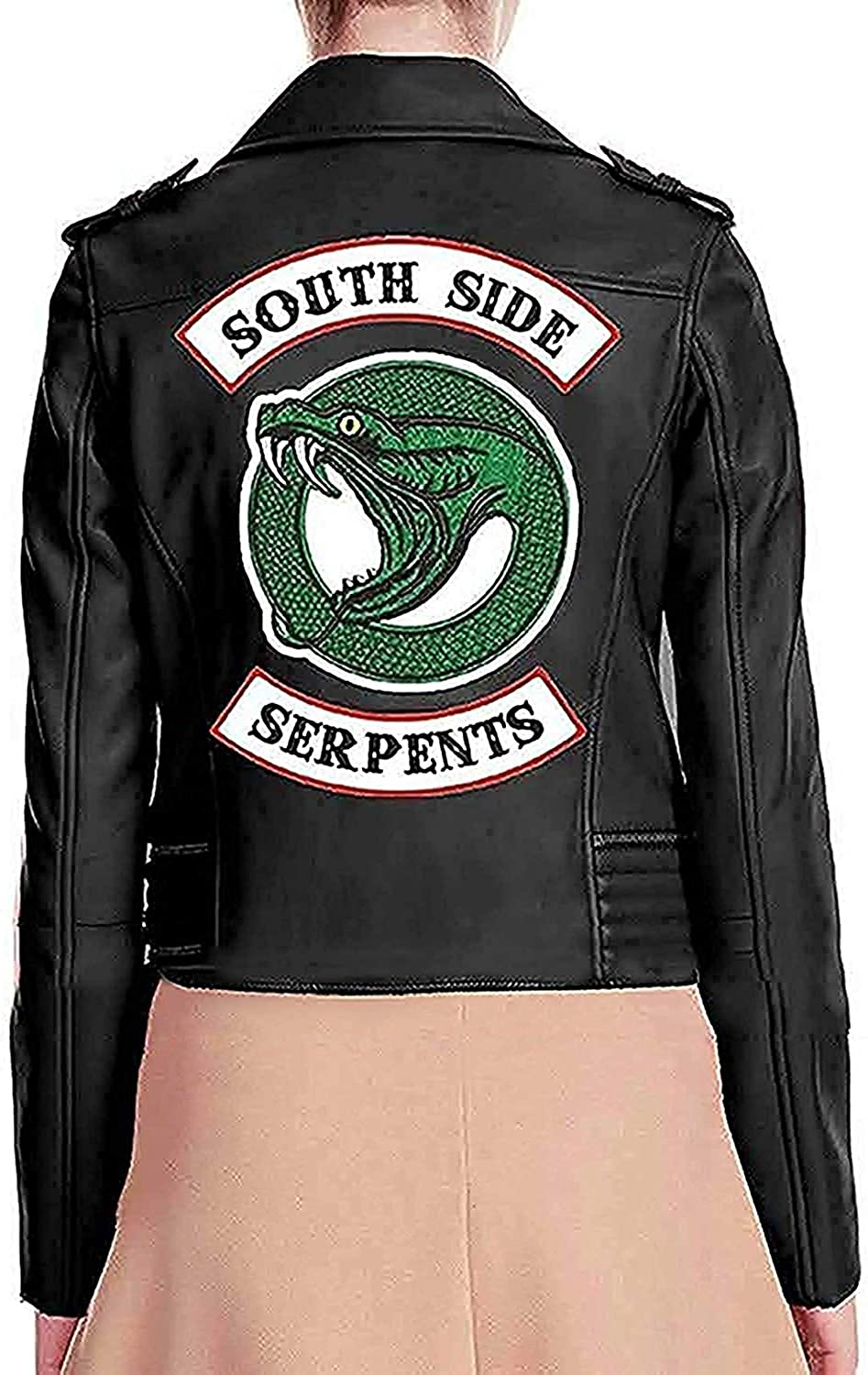 Indefinitely RB Fashions Womens Logo Black Faux Snake Jacket Ga Leather Super-cheap with