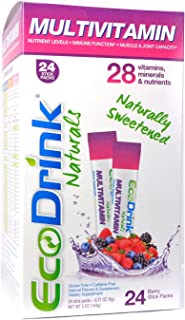 EcoDrink Naturals - Naturally Sweetened Complete Multivitamin Mix Drink - Berry Refill Pack. (24 Sticks)