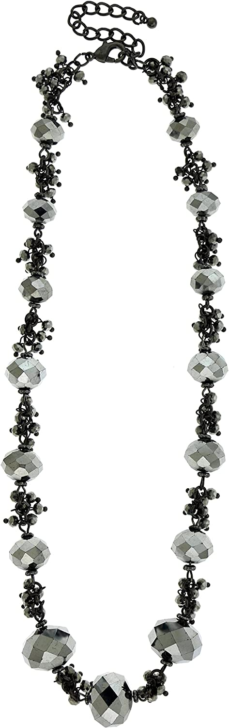 Mi Amore Dark Gray Collar Necklace With Faceted Accents TMN-B130
