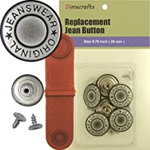 JBDIYME 20mm GHQ Grey Silver No-sew Jean Tack Buttons 6 w/Tool