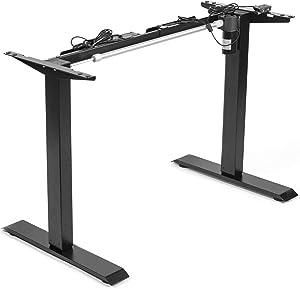 VIVO Black Electric Stand Up Desk Frame Workstation, Single Motor Ergonomic Standing Height Adjustable Base with Simple Controller (DESK-V100EB)