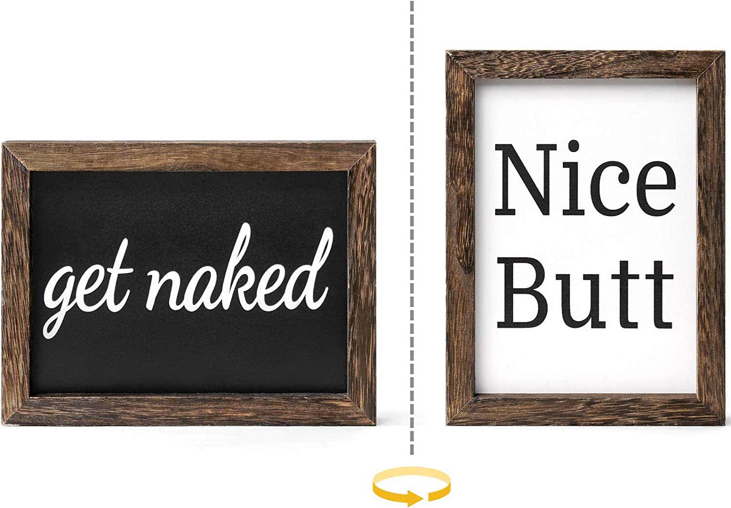 Dahey 1 Pack OFFicial mail order Farmhouse Bathroom Wall Sides Decor 2 Funny Si Wood Max 67% OFF