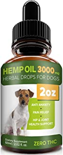 Pawesome Hemp Oil for Dogs Cats - 2oz - 3000 MG Made in USA Hemp Extract - Organic Pet Hemp Oil - Natural Pain Relief, Support Hip & Joint Health, Separation Anxiety,Omega-3, 6