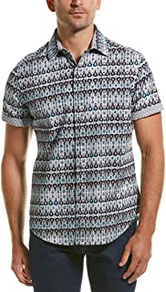 Robert Graham Gernway Short Sleeve Classic Fit Shirt Size XL Blue