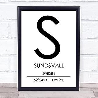 Sundsvall Sweden Coordinates World City Travel Quote Wall Art Print