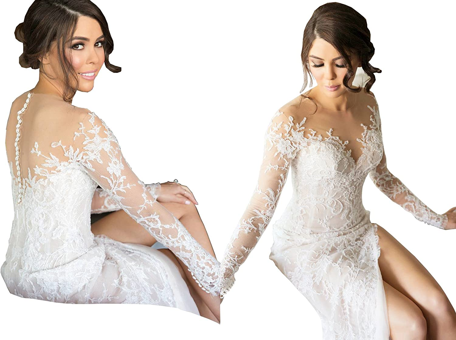 KissBridal Illusion Neck Long Sleeves Over Skirt Lace Applique Wedding Gown