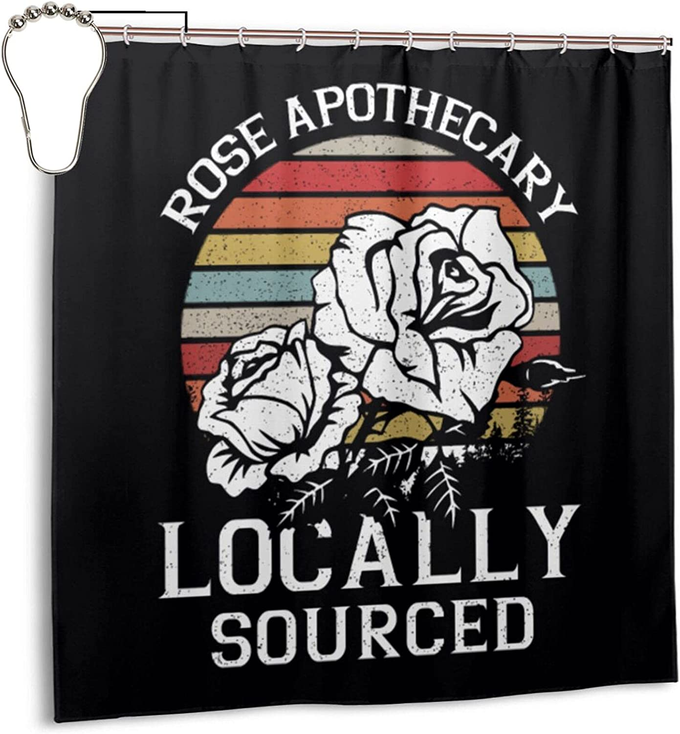Vintage Rose Apothecary Logo Shower Curtain Bathroom Hotel Q 2020 新作 最安値 for