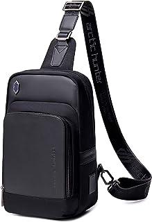 BAIGIO Bolso de hombro para hombre, bolsillo en el pecho, mochila cruzada con puerto de carga USB, auriculares, agujero pa...