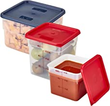 Cambro CamSquare Plastic Containers - 6qt with Lid - 8qt with Lid - 12 qt with Lid - Translucent Square Containers - Includes 2 Funny Cusinium Coasters and Ebook