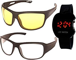 37cdc5a30f3f Younky Combo Of Uv Protected Aviator Sunglasses For Men Women Boys And Girls  With Digital Led