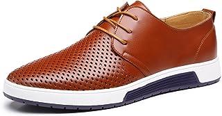d49f0021 Zapatos de Cuero Hombre, Oxford con Cordones Brogue Vestir Derby Informal  Negocios Boda Calzado Respirable