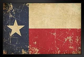 Flag of Texas Old Scratched Aged Vintage Black Wood Framed Art Poster 14x20