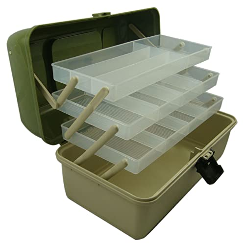 Lunar Box 3 Tray Cantilever Fishing Tackle Box, Crafts Caddy, Adjustable Compartments