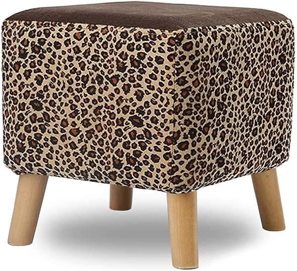 Footstool Ottoman Pouffe Shoe Bench Sofa Stool Change Shoe Bench Rest Stool Foot Stool Small Stool Home Living Room Fashion Lazy Stool ZHAOFENGE Color Leopard