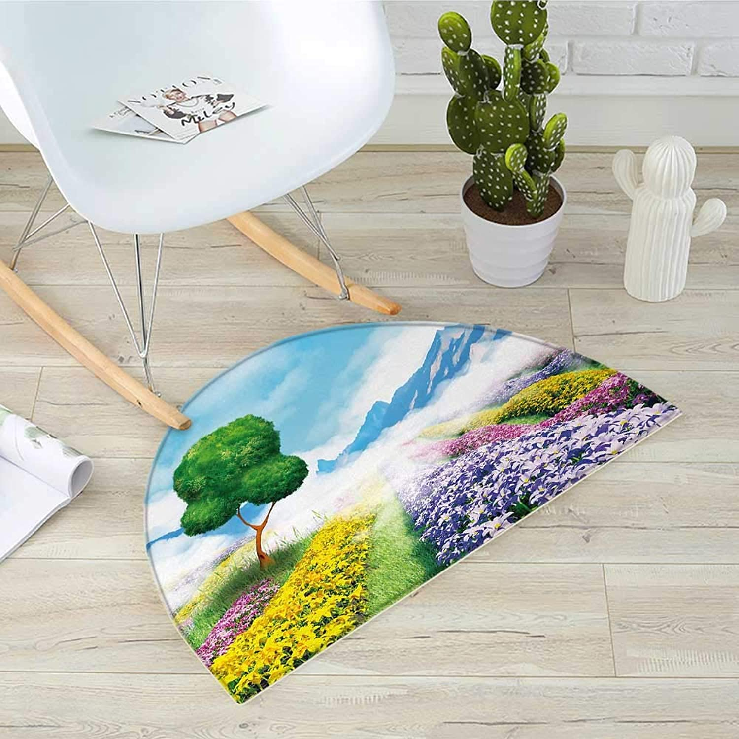 Nature Half Round Door mats Print Cartoon Style Scenery of Flowers Trees Gardens and Mountains Artwork Print Bathroom Mat H 43.3  xD 64.9  Multicolor
