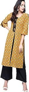 Zoeyams Womens Multicolored Cotton Printed Long Straight Kurta With Cotton Palazzo