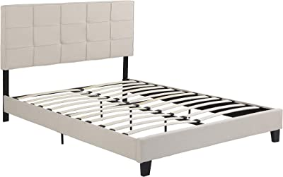 Christopher Knight Home Salome Fully-Upholstered Queen-Size Platform Bed Frame, Low-Profile, Contemporary, Beige, Black