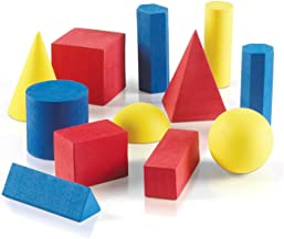 hand2mind 40133 Foam Geometric Solid Blocks, Assorted Colors, 3D Shapes (Set of 12)