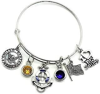Navy bracelet, US Navy bracelet, US Military, Navy Wife bracelet, Navy Mom bracelet, Navy Sister, Navy girlfriend, Navy Grandma, Sailor bracelet, I Love my Sailor bracelet, Navy bangle bracelet