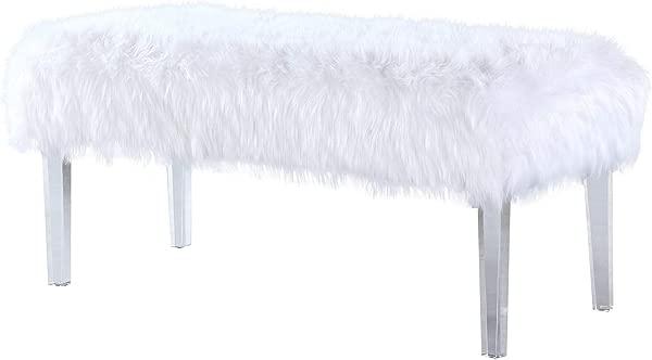 别致的家塞缪尔现代当代人造毛皮丙烯酸腿长凳白色