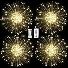 FOOING 4 Pack Firework Lights Led Copper Wire Starburst String Lights 8 Modes Battery Operated Fairy Lights with Remote,We...