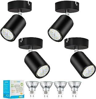 Gr4tec Lot de 4 Spots Orientables 350°, 4 x 6W Ampoule GU10, Blanc Chaud 2800K, Plafonnier Led, AC 220V-240V, 600LM Lumina...