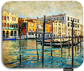 Moslion City Mouse Pad Vintage Venice Italy Town Rivers Lake Water Buildings Boat Gaming Mouse Pad Rubber Large Mousepad for Computer Desk Laptop Office Work 7.9x9.5 Inch