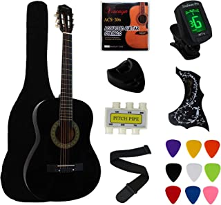 """Best YMC 38"""" Black Beginner Acoustic Guitar Starter Package Student Guitar with Gig Bag,Strap, 3 thickness 9 picks,2 Pickguards,Pick Holder, Extra Strings, Electronic Tuner -Black Review"""