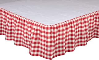 VHC Brands Farmhouse Annie Cotton Split Corners Gathered Buffalo Check King Bed Skirt, Red Country