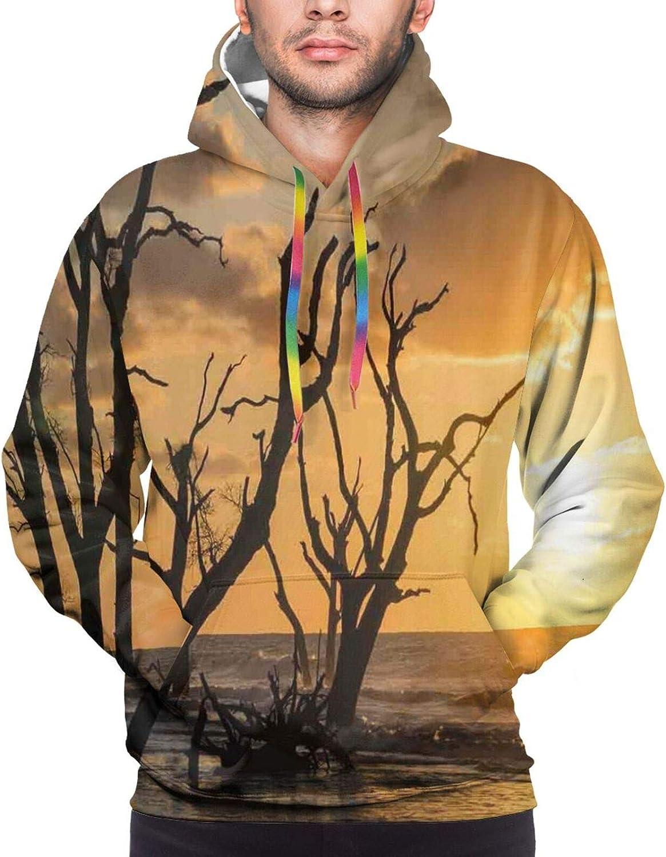 Men's Hoodies Sweatshirts,Sea Sun Surfing Typography with Ocean Waves Aloha Tropical Print