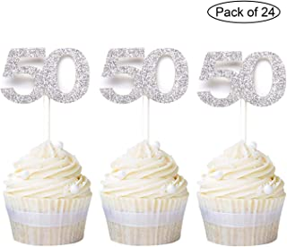 Newqueen Numbers 50 Cupcake Toppers Silver Glitter 50th Birthday Cupcake Picks Anniversary Party Decoration Supplies 24 PCS