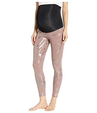 Beyond Yoga Maternity Lost Your Marbles Midi Leggings (Dusty Mauve/Shiny Gunmetal Marble) Women