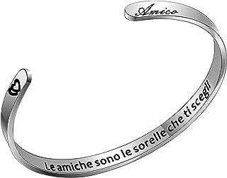 """Aoeboz Regali di Amicizia Braccialetto Donna Polsino Bracciale Amici""""le amiche sono le sorelle che ti scegli""""con incisione..."""