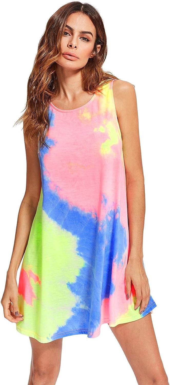 Raleigh Mall Romwe Women's Sleeveless Casual Indefinitely Loose Swing T-Shirt Dress Tunic
