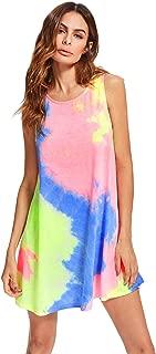 Women's Tie Dye Sleeveless Casual Loose T-Shirt Dress Swing Tunic Top