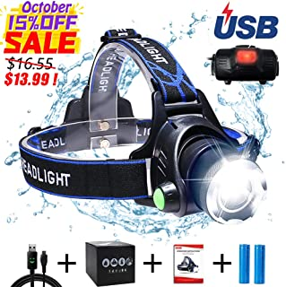 Aukelly LED Headlamp Head Lamps,Rechargeable Head Light USB Headlamp,Bright Head Lights High Lumens Headlamp for Camping,Zoomable,3 Modes,Head Lamps for Adults,with 18650 Battery,USB Cable