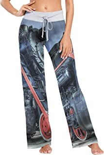 XiangHeFu Pantaloni Pigiama da Donna, Pantaloni da Yoga, Leggings Inferiori, Pantaloni da Salotto a Vita Alta, Treno a Vap...