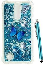 CAIYUNL for LG K20 V Case, LG K20 Plus Case Glitter, LG Harmony Case, LG Grace Case, LG LV5 Case Liquid Sparkle Bling Girls Women Men Clear TPU Protective Cute Cover for LG K10 2017 -Blue Butterfly