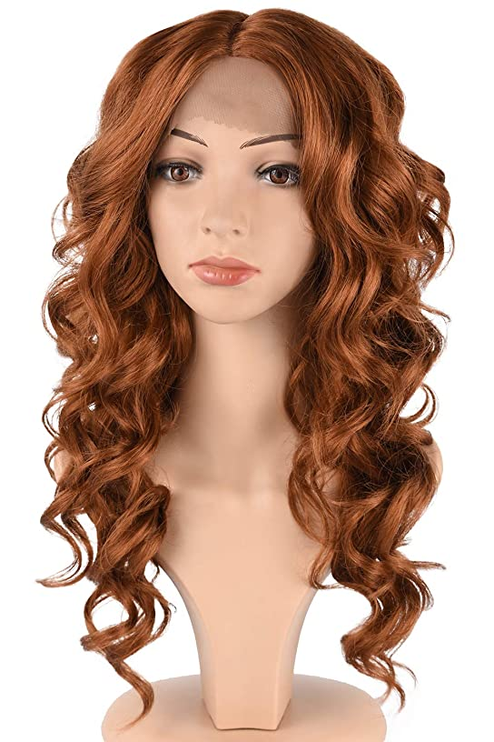 Tofafa Auburn Brown Synthetic Lace Front Wigs for Women,Fashion Curly Wavy Hair Wig Daily Costume (18 inches,#30)