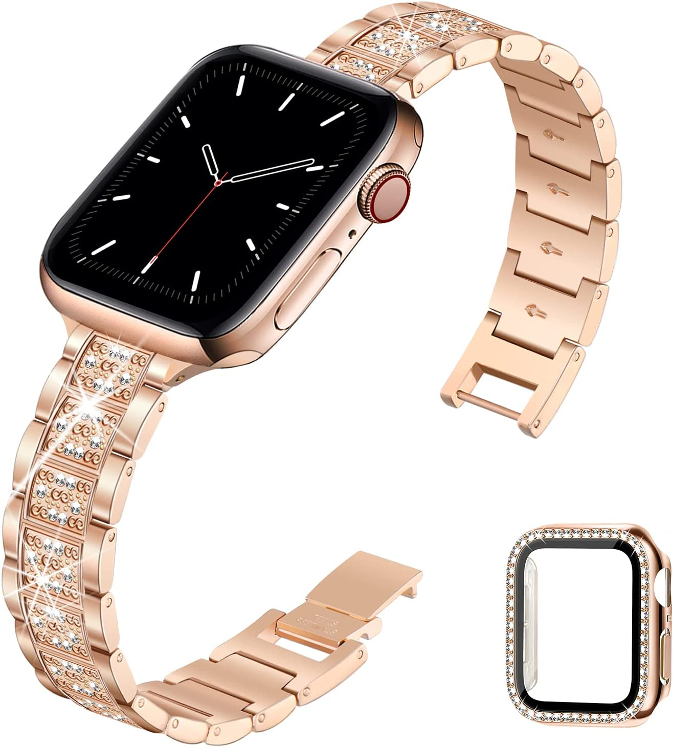 STIROLL Bling Band Compatible with Apple Watch Band 38mm 40mm 42mm 44mm, Jewelry Metal Replacement Strap for iWatch SE Series 6/5/4/3/2/1 Women Men(Rose Gold, 38mm)