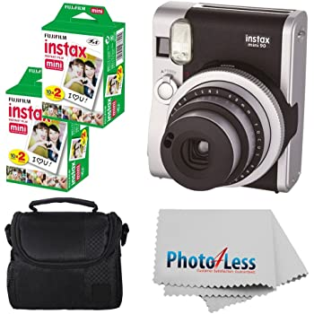 Fujifilm INSTAX Mini 90 Neo Classic Instant Camera (Black) with 2X Fujifilm Instax Mini 20 Pack Instant Film (40 Shots) + Compact Camera Case + Cleaning Cloth - International Version (No Warranty)